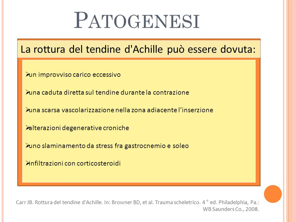 Patogenesi La rottura del tendine d Achille può essere dovuta: