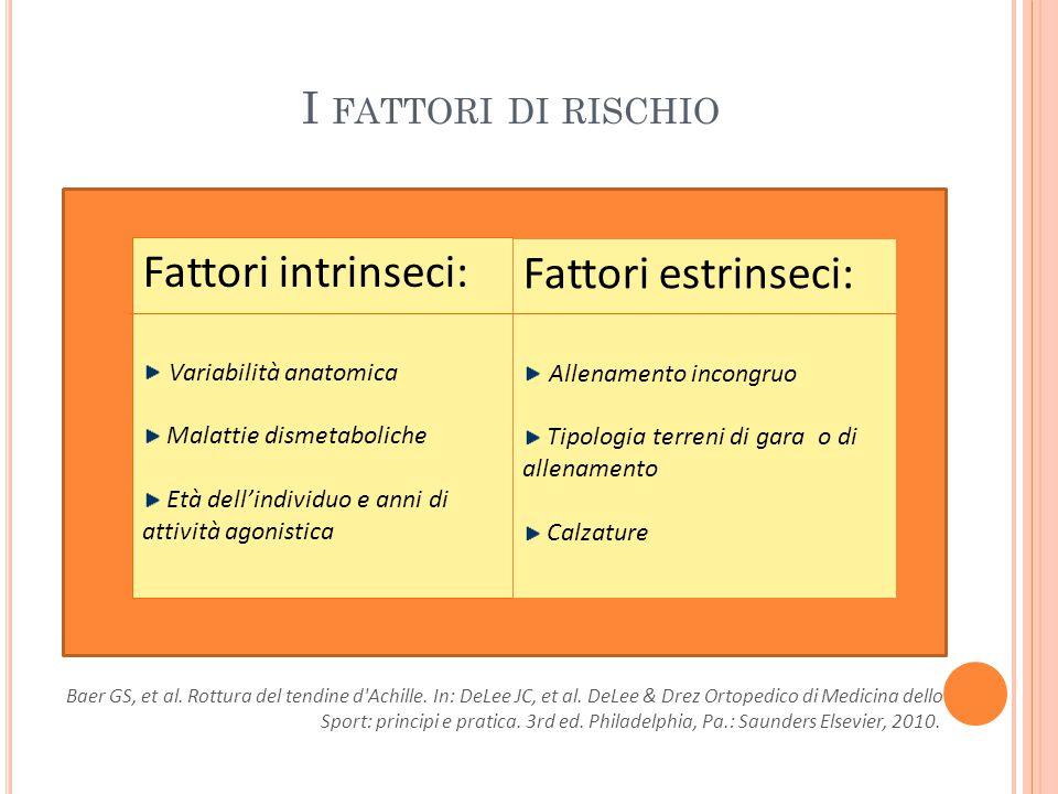 Fattori intrinseci: Fattori estrinseci: I fattori di rischio