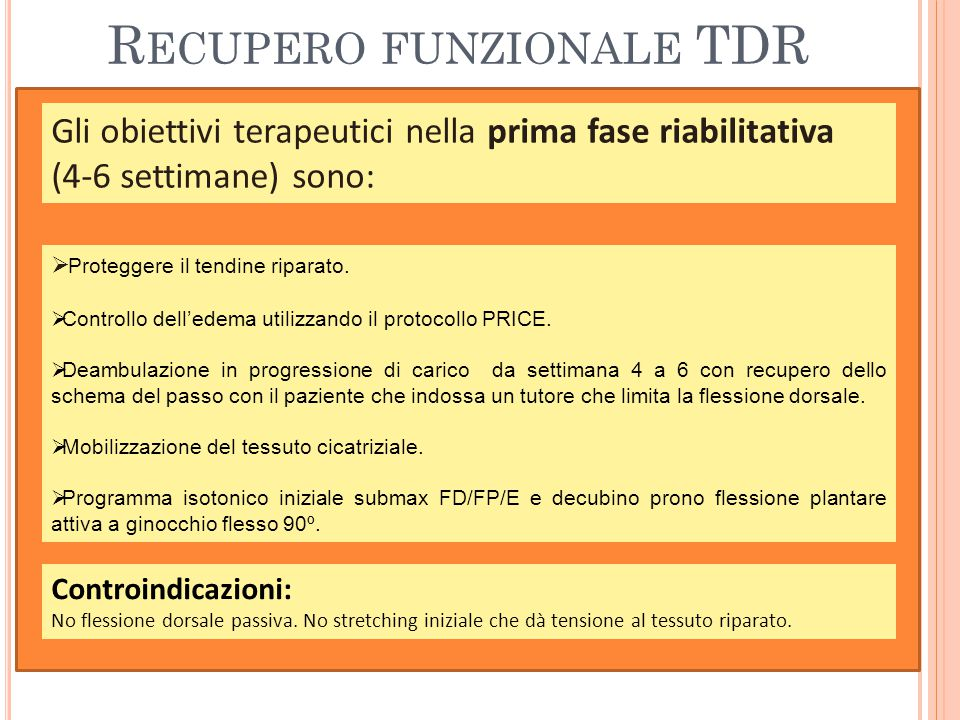 Recupero funzionale TDR