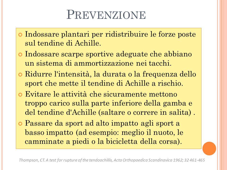 Prevenzione Indossare plantari per ridistribuire le forze poste sul tendine di Achille.
