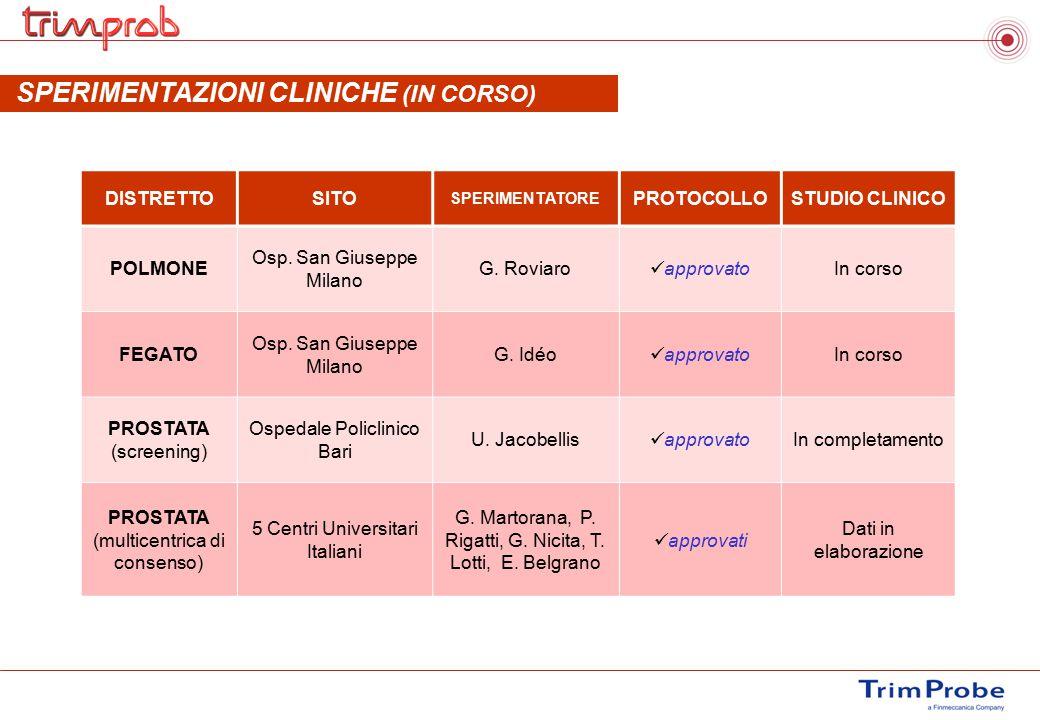 SPERIMENTAZIONI CLINICHE (IN CORSO)