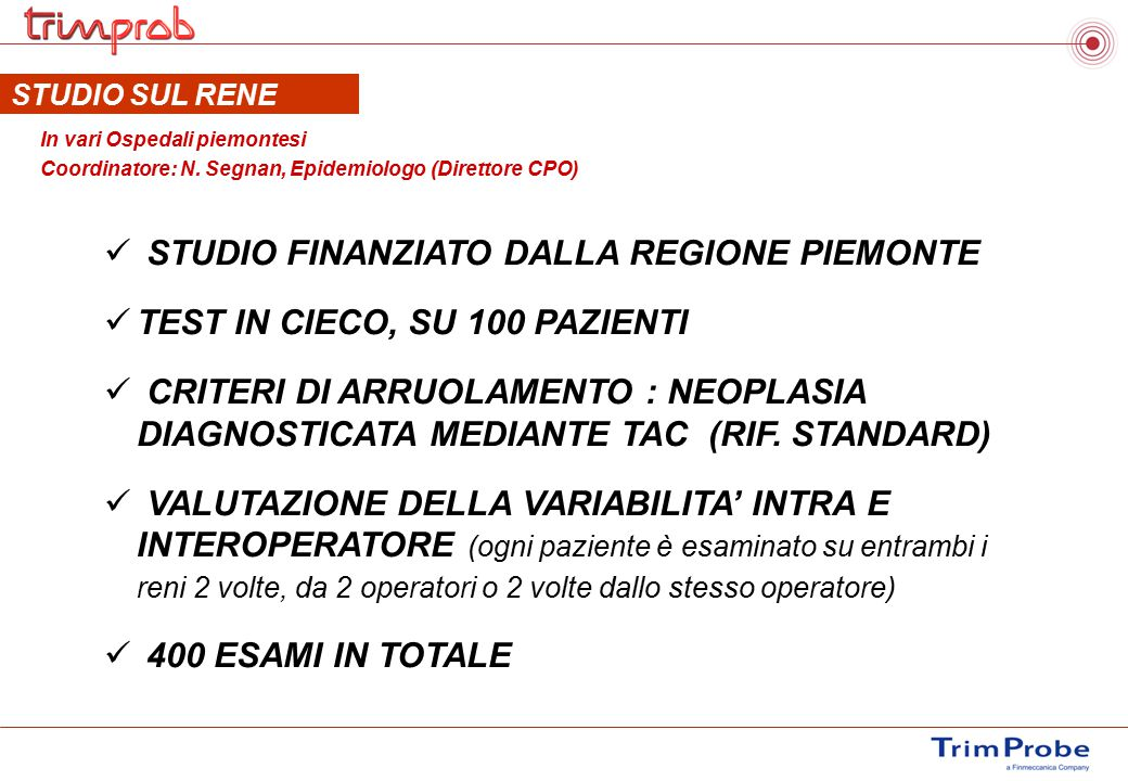 STUDIO FINANZIATO DALLA REGIONE PIEMONTE