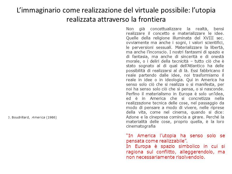 L'immaginario come realizzazione del virtuale possibile: l'utopia realizzata attraverso la frontiera