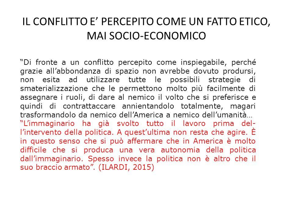 IL CONFLITTO E' PERCEPITO COME UN FATTO ETICO, MAI SOCIO-ECONOMICO