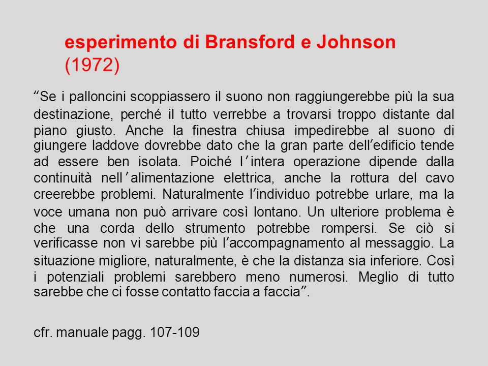 esperimento di Bransford e Johnson (1972)