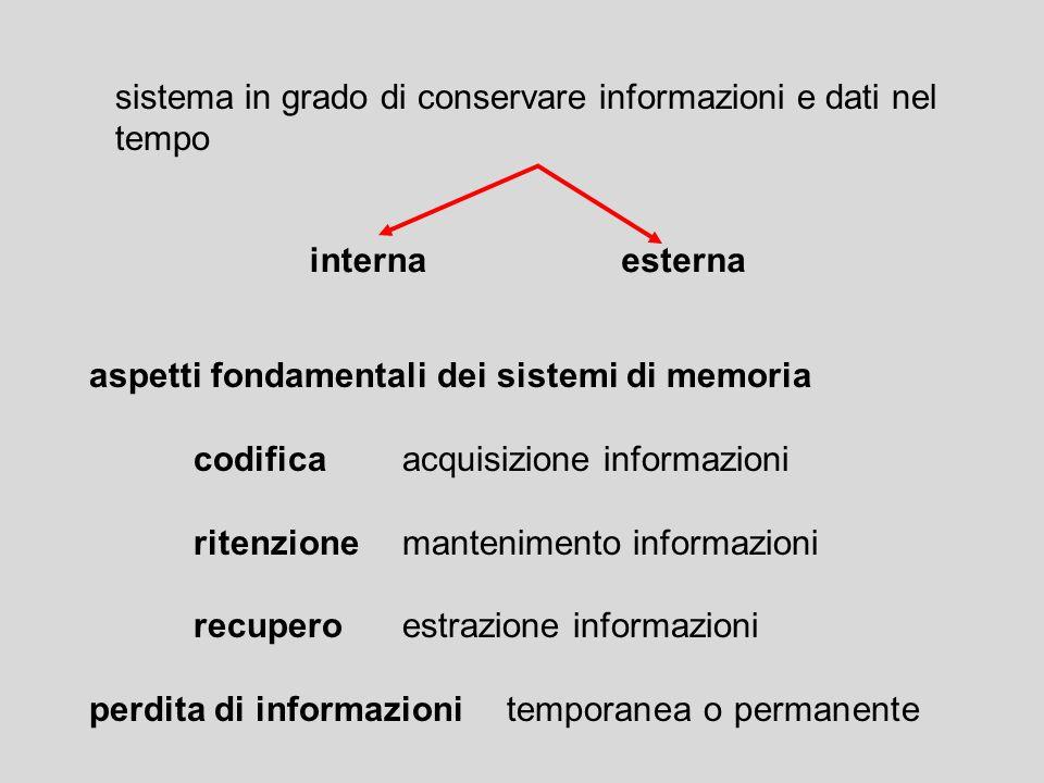 sistema in grado di conservare informazioni e dati nel tempo