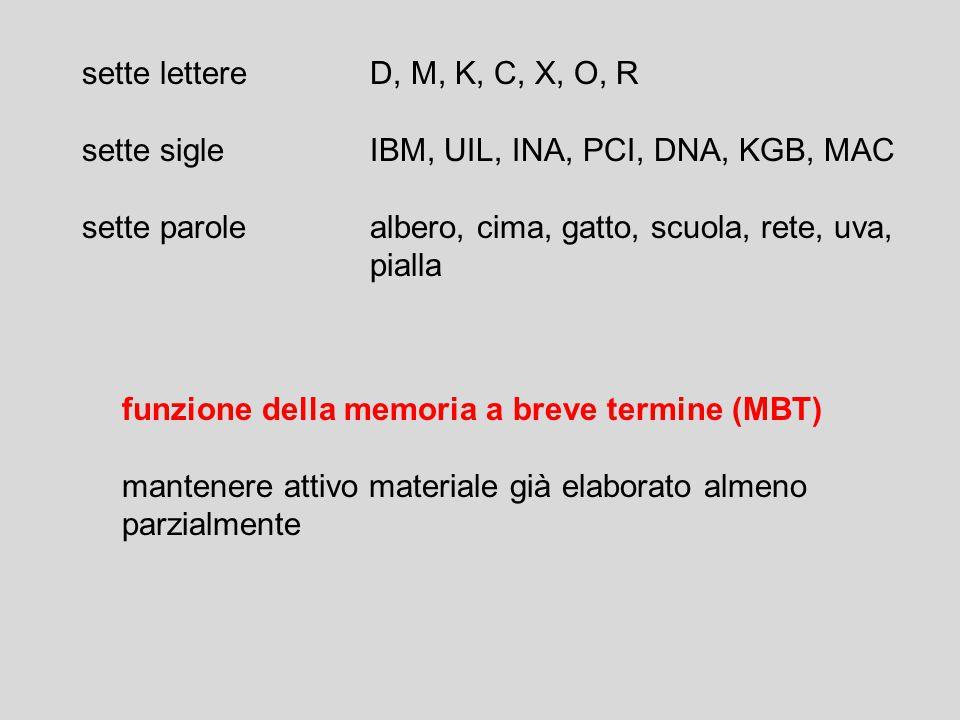 sette lettere D, M, K, C, X, O, R sette sigle IBM, UIL, INA, PCI, DNA, KGB, MAC. sette parole albero, cima, gatto, scuola, rete, uva,
