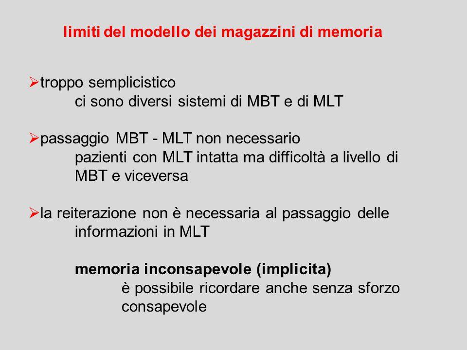 limiti del modello dei magazzini di memoria