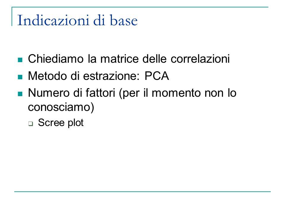 Indicazioni di base Chiediamo la matrice delle correlazioni