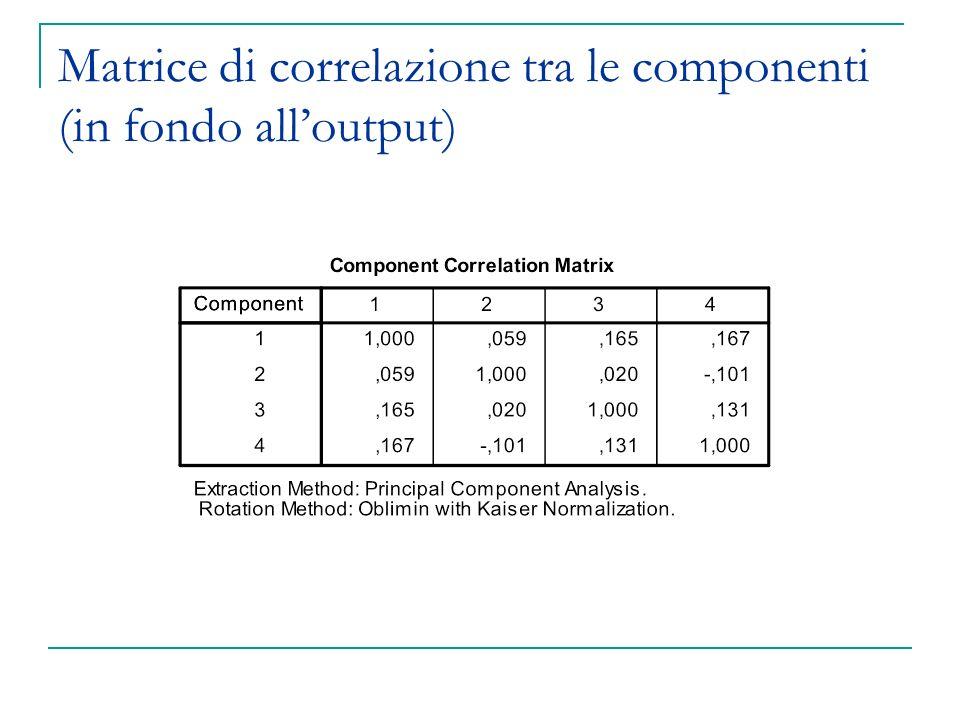 Matrice di correlazione tra le componenti (in fondo all'output)