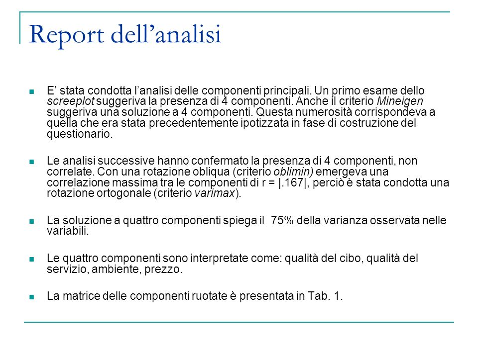 Report dell'analisi