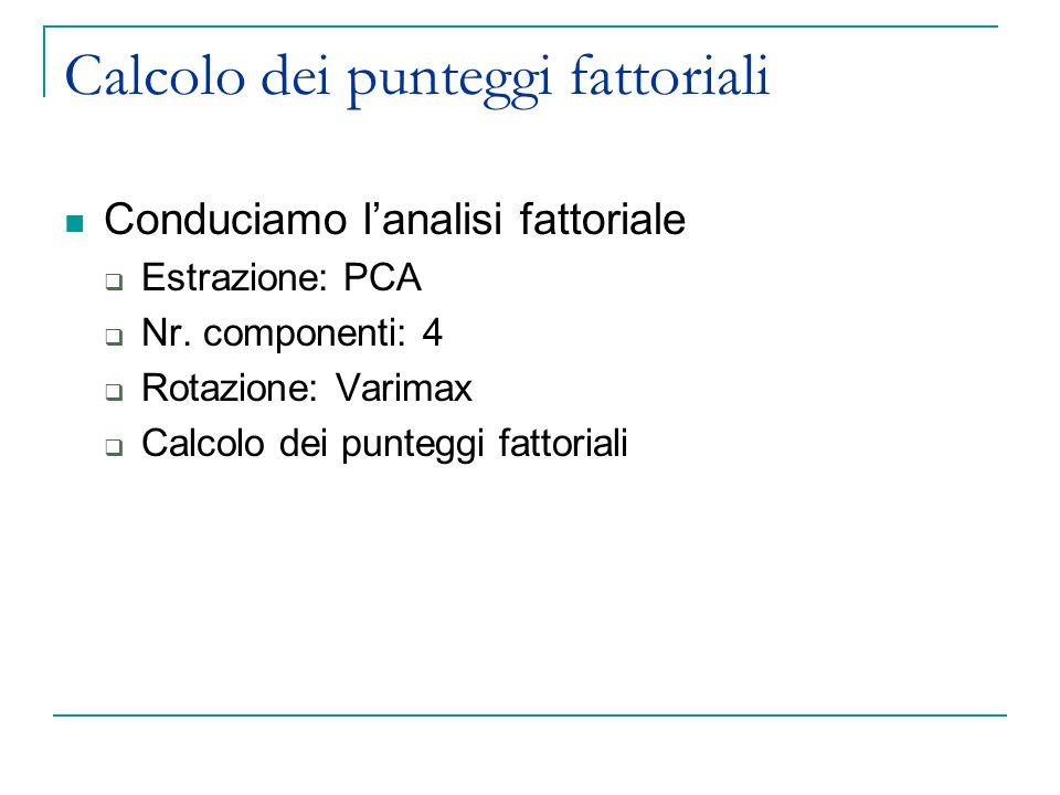 Calcolo dei punteggi fattoriali