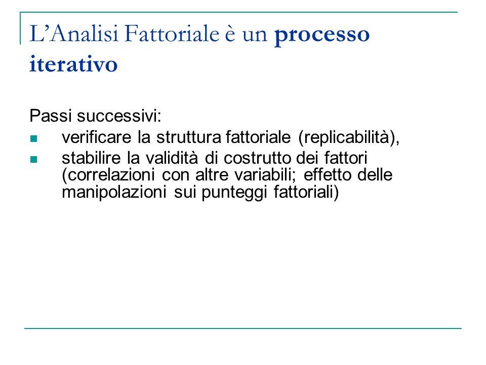 L'Analisi Fattoriale è un processo iterativo