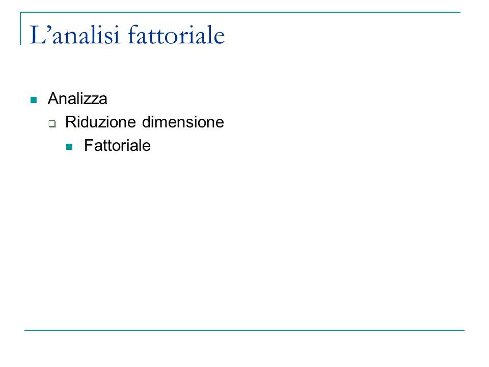 L'analisi fattoriale Analizza Riduzione dimensione Fattoriale