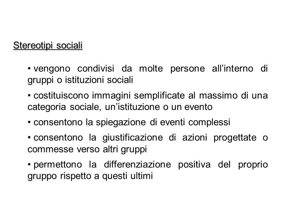 Stereotipi sociali vengono condivisi da molte persone all'interno di gruppi o istituzioni sociali.