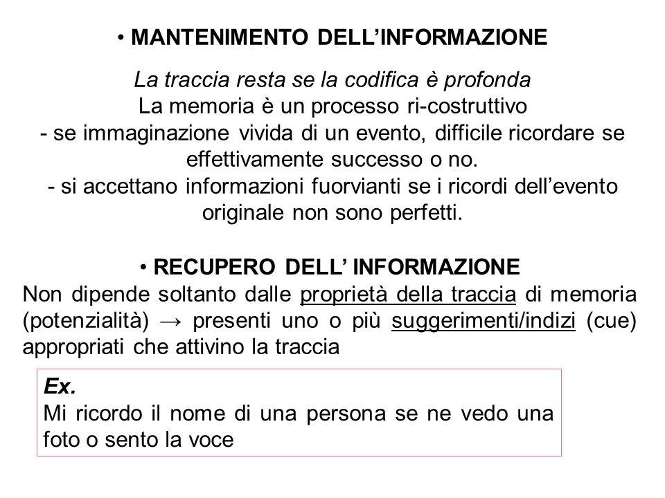MANTENIMENTO DELL'INFORMAZIONE