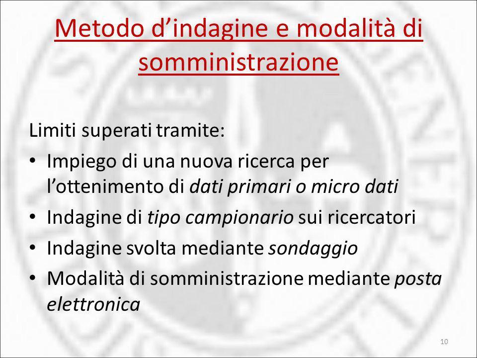 Metodo d'indagine e modalità di somministrazione