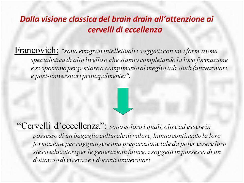 Dalla visione classica del brain drain all'attenzione ai cervelli di eccellenza