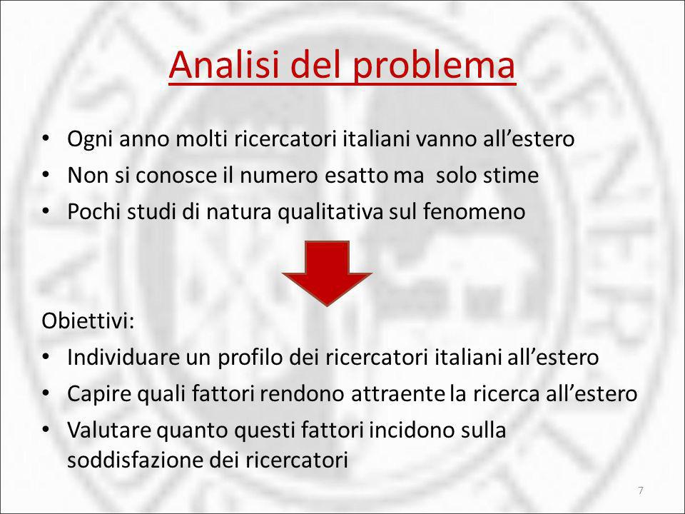 Analisi del problema Ogni anno molti ricercatori italiani vanno all'estero. Non si conosce il numero esatto ma solo stime.