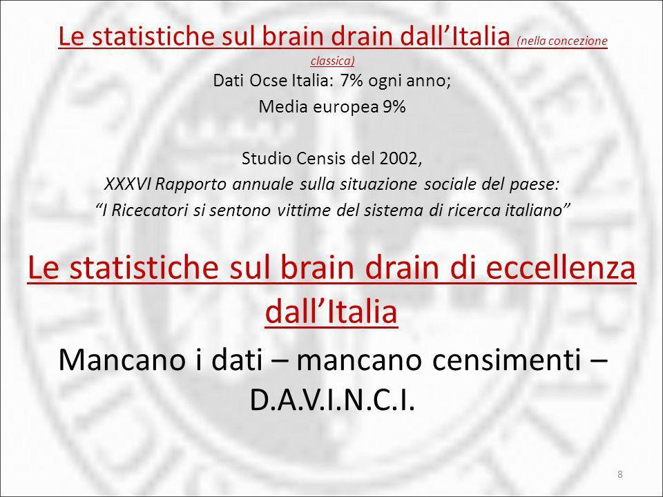 Le statistiche sul brain drain dall'Italia (nella concezione classica)