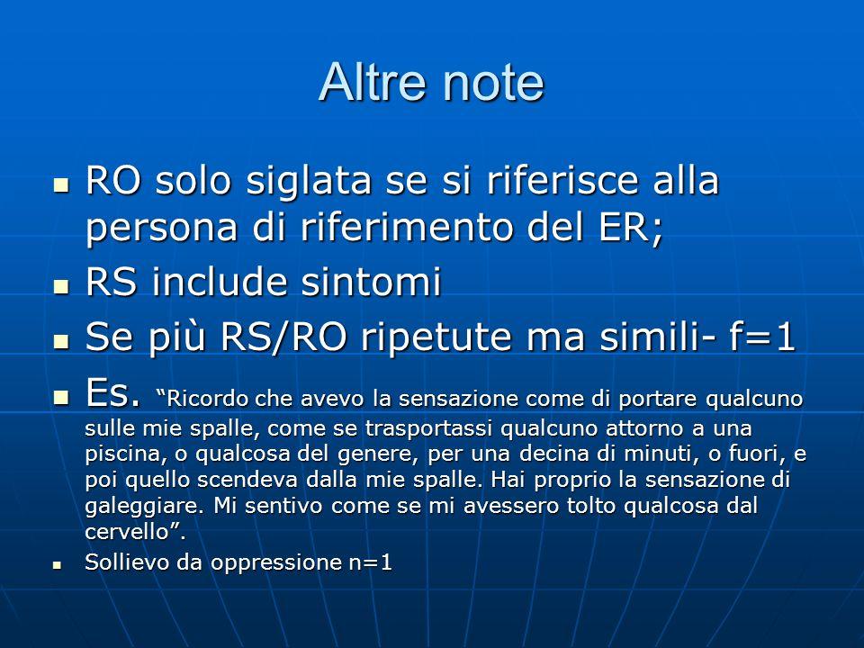 Altre noteRO solo siglata se si riferisce alla persona di riferimento del ER; RS include sintomi. Se più RS/RO ripetute ma simili- f=1.