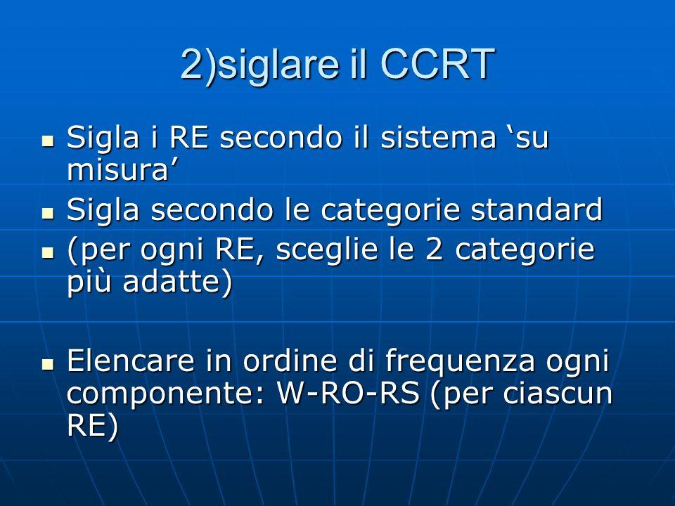 2)siglare il CCRT Sigla i RE secondo il sistema 'su misura'