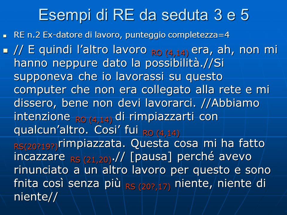 Esempi di RE da seduta 3 e 5 RE n.2 Ex-datore di lavoro, punteggio completezza=4.