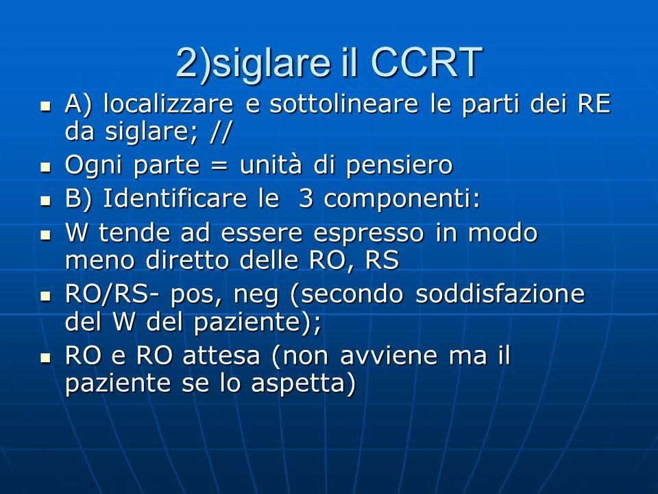 2)siglare il CCRT A) localizzare e sottolineare le parti dei RE da siglare; // Ogni parte = unità di pensiero.
