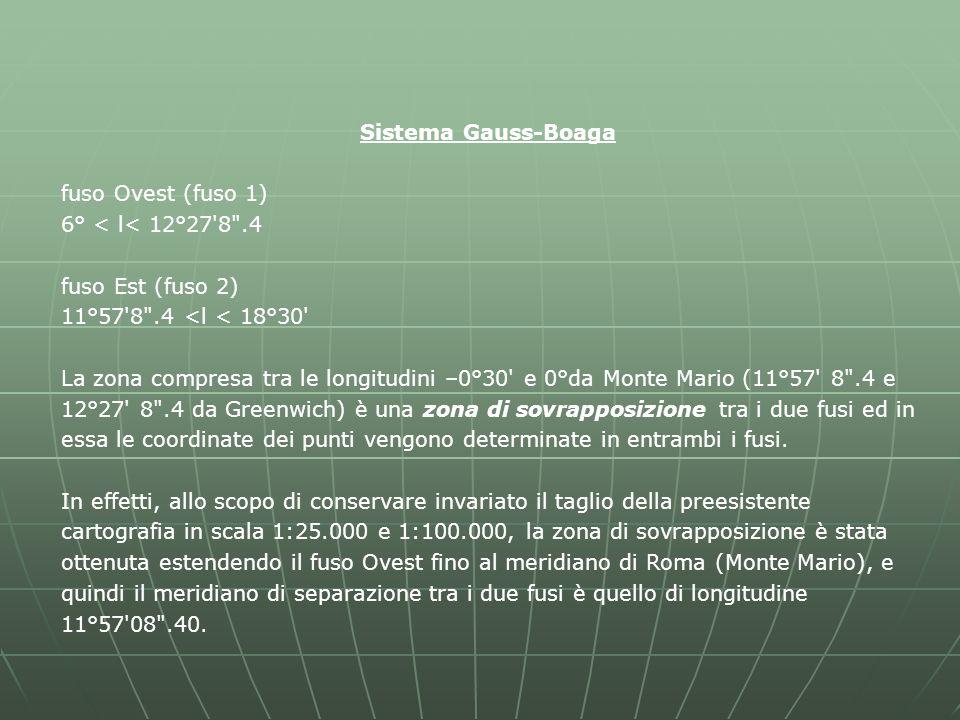 Sistema Gauss-Boaga fuso Ovest (fuso 1) 6° < l< 12°27 8 .4. fuso Est (fuso 2) 11°57 8 .4 <l < 18°30