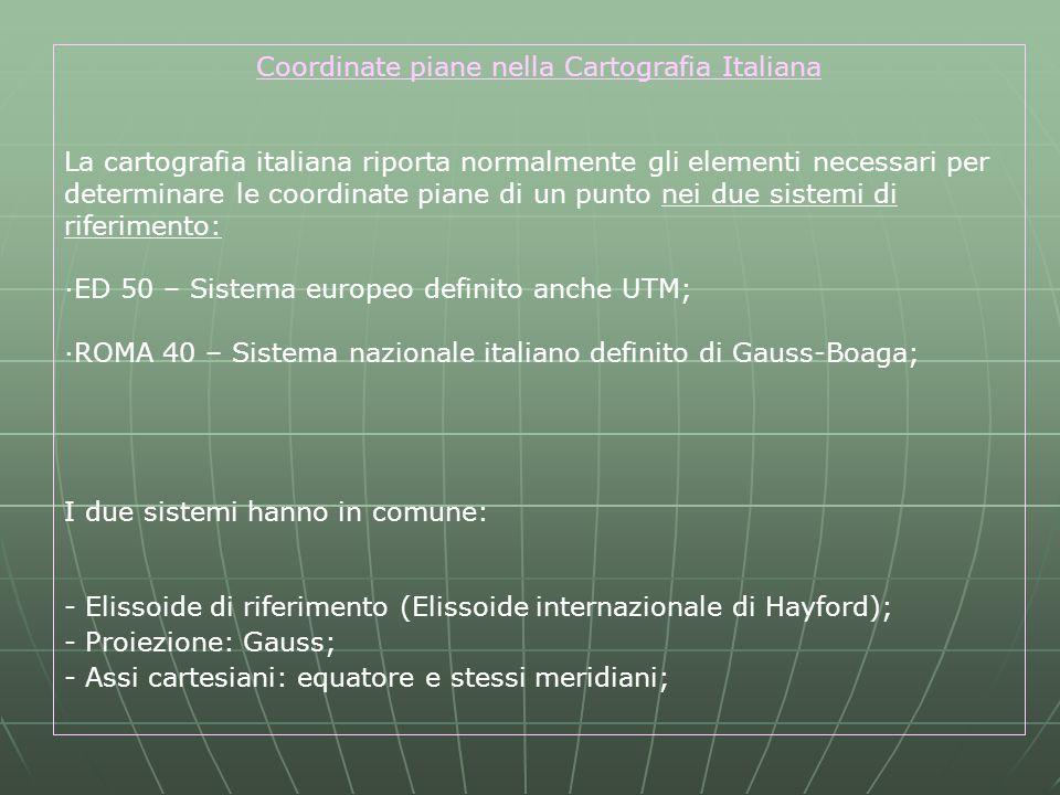 Coordinate piane nella Cartografia Italiana