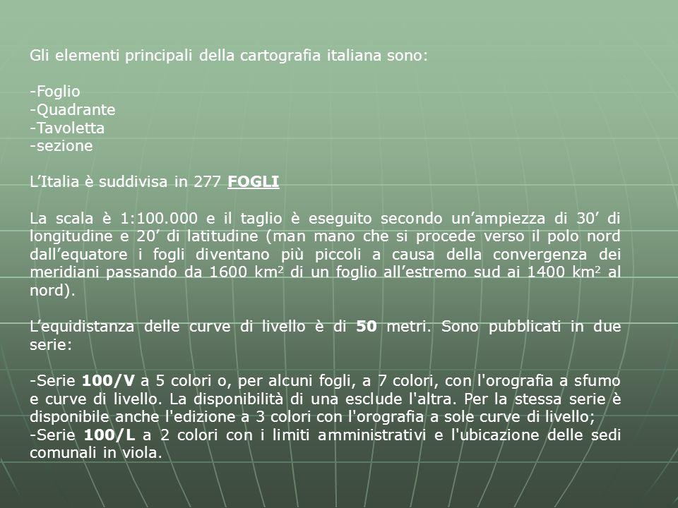 Gli elementi principali della cartografia italiana sono: