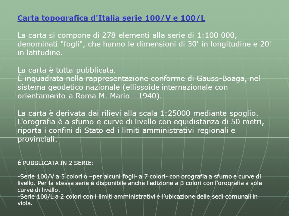 Carta topografica d Italia serie 100/V e 100/L