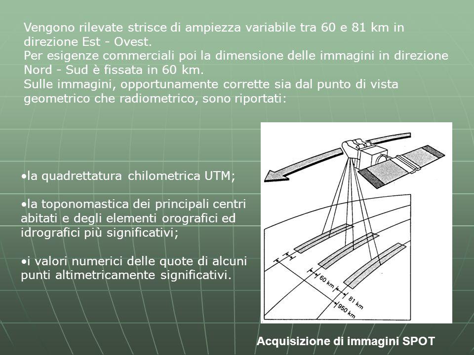 Vengono rilevate strisce di ampiezza variabile tra 60 e 81 km in direzione Est - Ovest.