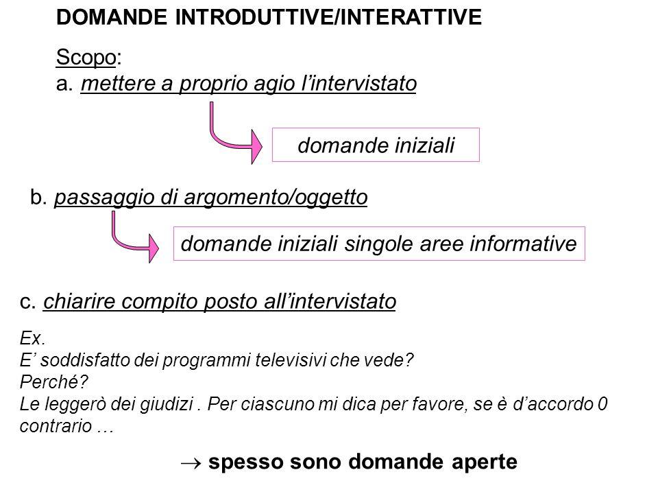 DOMANDE INTRODUTTIVE/INTERATTIVE Scopo: