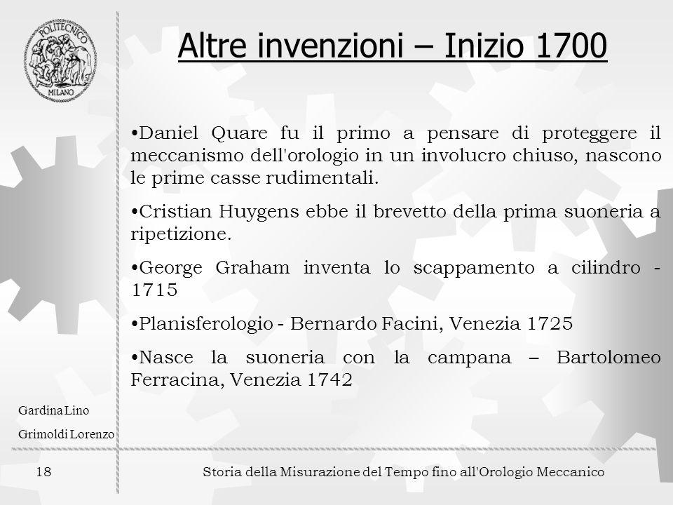Altre invenzioni – Inizio 1700