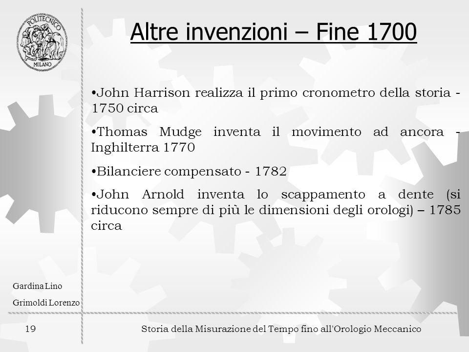 Altre invenzioni – Fine 1700