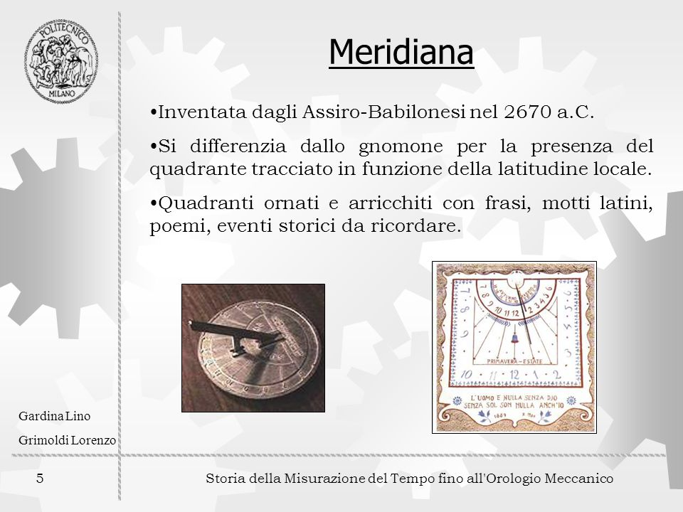 Storia della Misurazione del Tempo fino all Orologio Meccanico