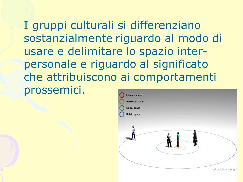 I gruppi culturali si differenziano sostanzialmente riguardo al modo di usare e delimitare lo spazio inter- personale e riguardo al significato che attribuiscono ai comportamenti prossemici.