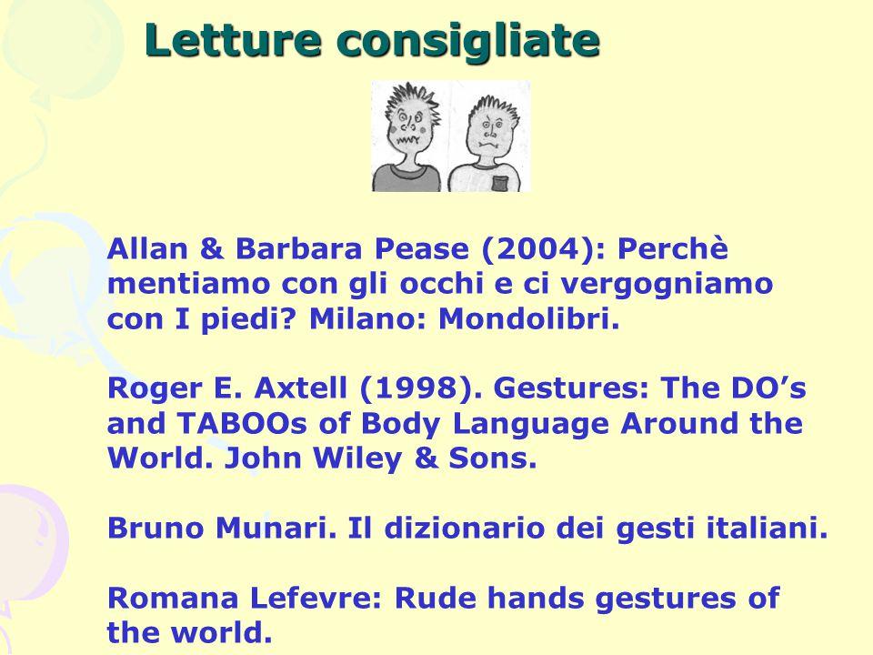 Letture consigliate Allan & Barbara Pease (2004): Perchè mentiamo con gli occhi e ci vergogniamo con I piedi Milano: Mondolibri.