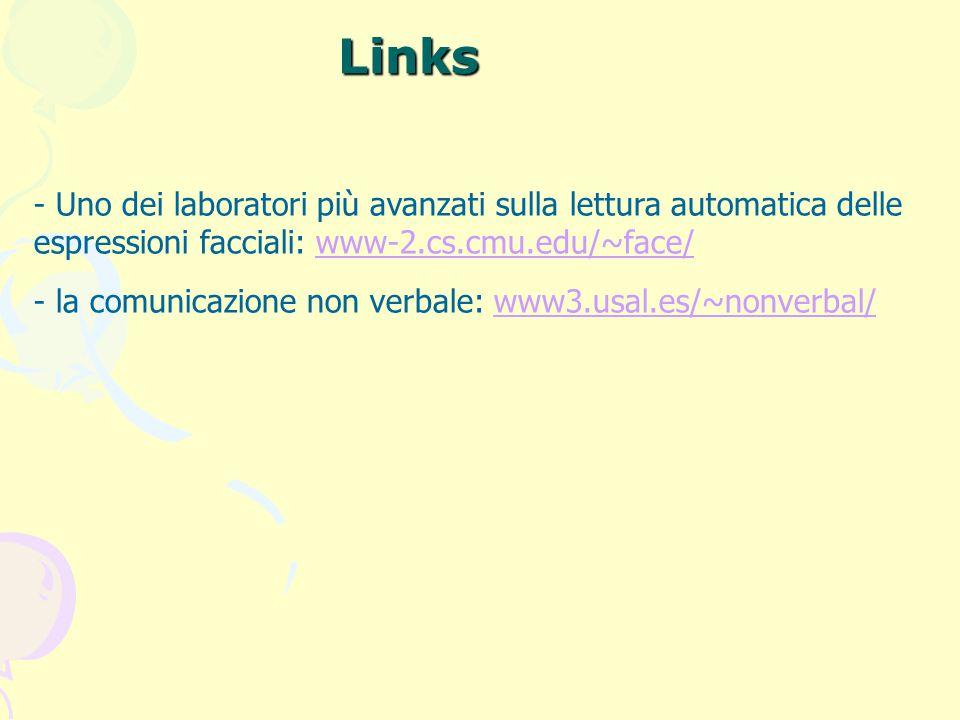Links - Uno dei laboratori più avanzati sulla lettura automatica delle espressioni facciali: www-2.cs.cmu.edu/~face/