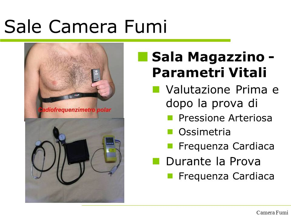 Sale Camera Fumi Sala Magazzino - Parametri Vitali
