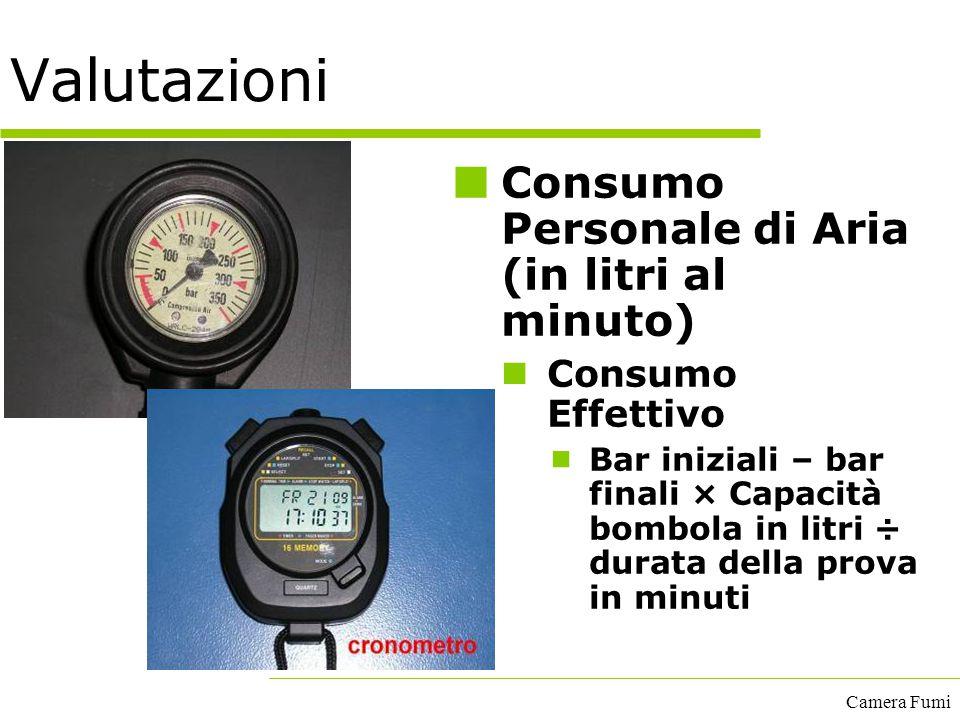 Valutazioni Consumo Personale di Aria (in litri al minuto)