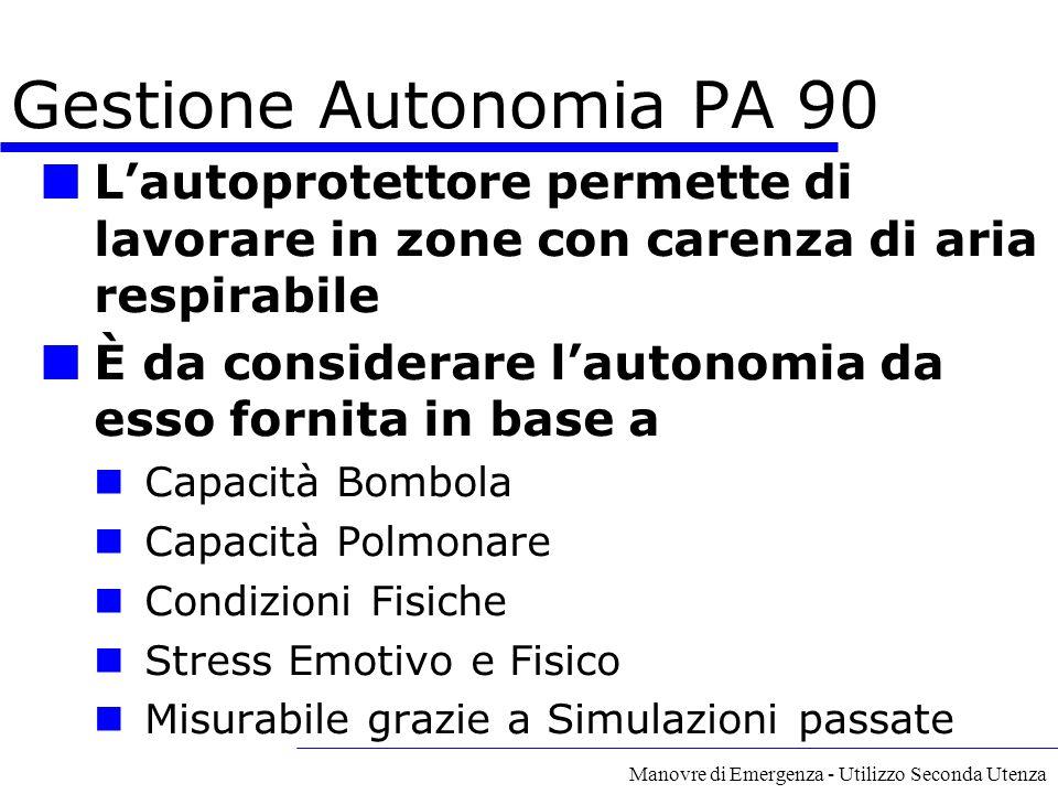 A cura del GECAV Gestione Autonomia PA 90. L'autoprotettore permette di lavorare in zone con carenza di aria respirabile.