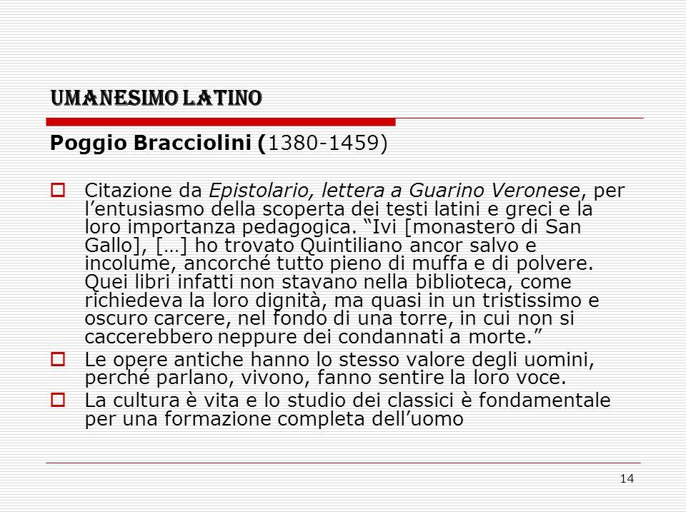 UMANESIMO LATINO Poggio Bracciolini (1380-1459)