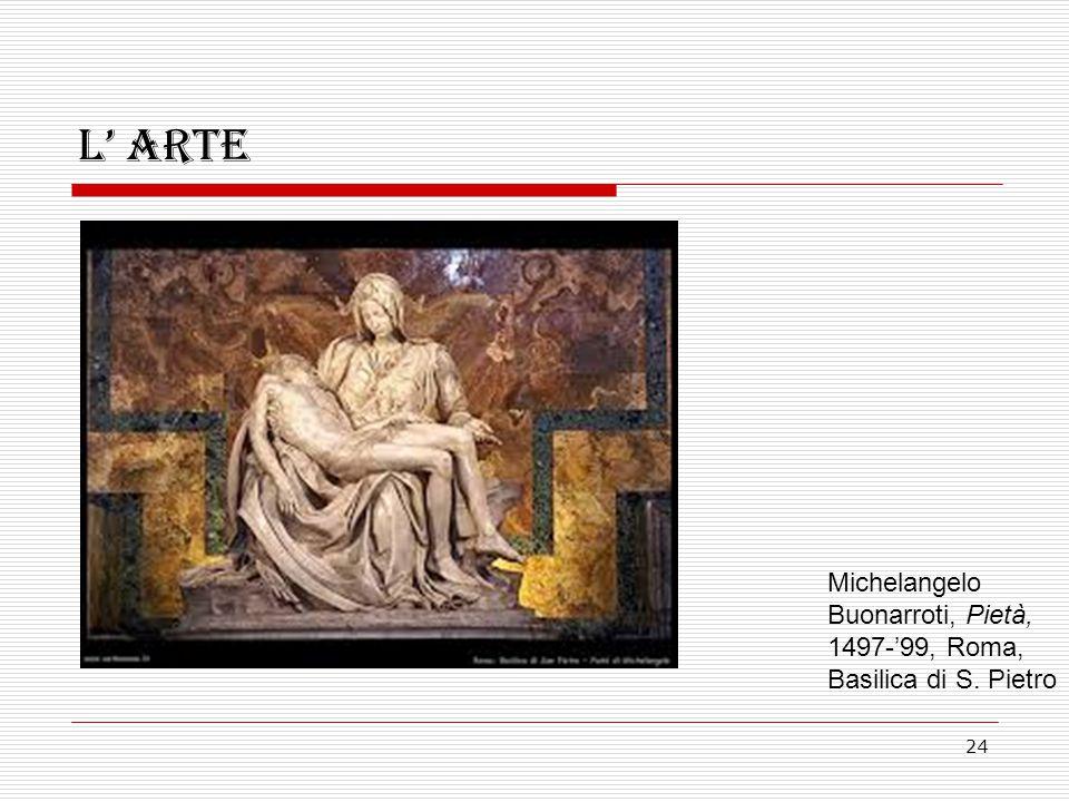 L' arte Michelangelo Buonarroti, Pietà, 1497-'99, Roma, Basilica di S. Pietro