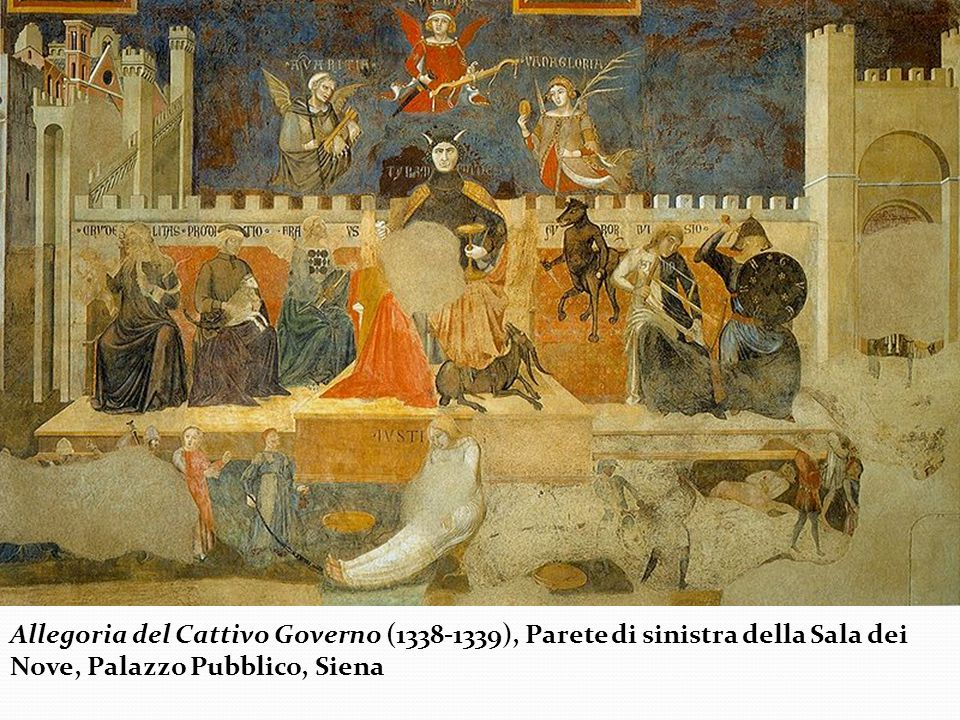 Allegoria del Cattivo Governo (1338-1339), Parete di sinistra della Sala dei Nove, Palazzo Pubblico, Siena