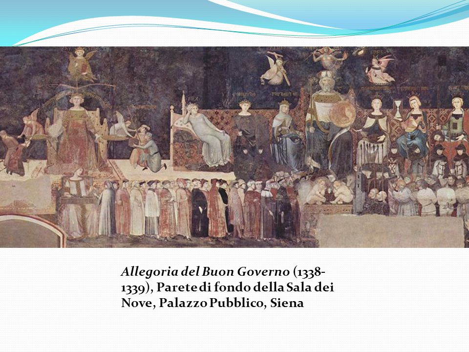 Allegoria del Buon Governo (1338-1339), Parete di fondo della Sala dei Nove, Palazzo Pubblico, Siena