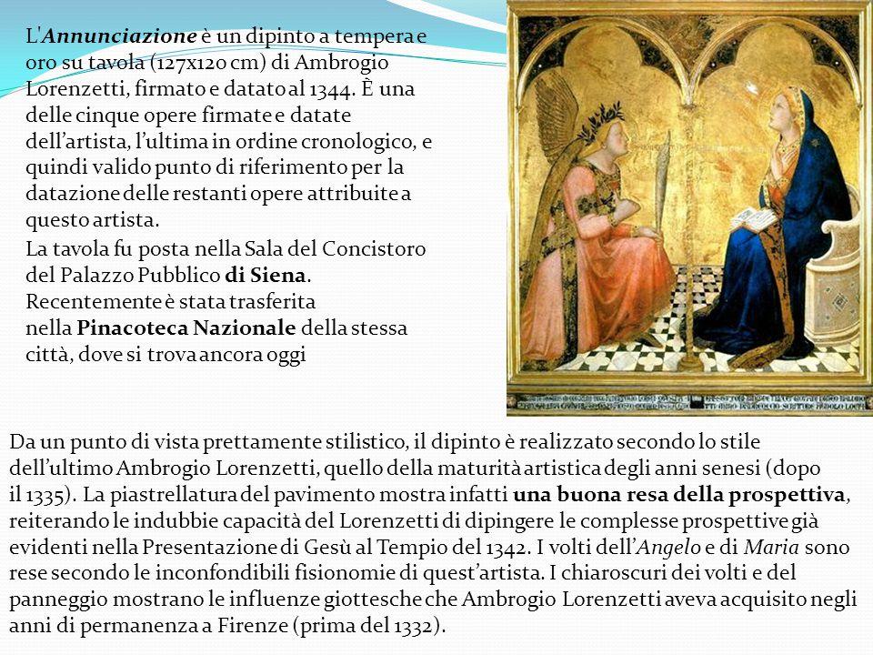 L Annunciazione è un dipinto a tempera e oro su tavola (127x120 cm) di Ambrogio Lorenzetti, firmato e datato al 1344. È una delle cinque opere firmate e datate dell'artista, l'ultima in ordine cronologico, e quindi valido punto di riferimento per la datazione delle restanti opere attribuite a questo artista.