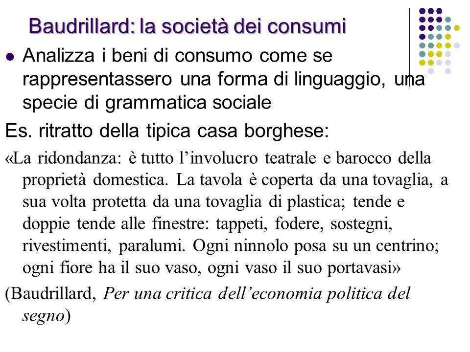 Baudrillard: la società dei consumi