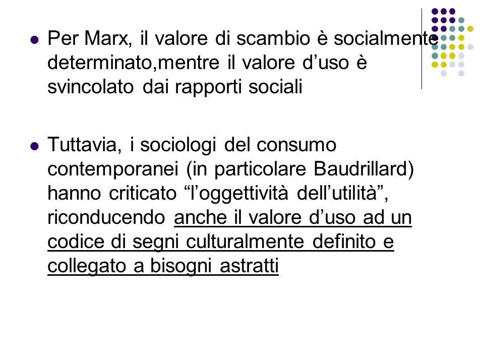 Per Marx, il valore di scambio è socialmente determinato,mentre il valore d'uso è svincolato dai rapporti sociali